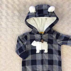 Carter's Fleece Hooded Romper Polar Bear Plaid 3M